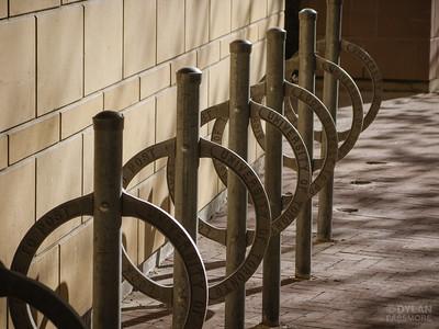Post with circular hoop bike parking