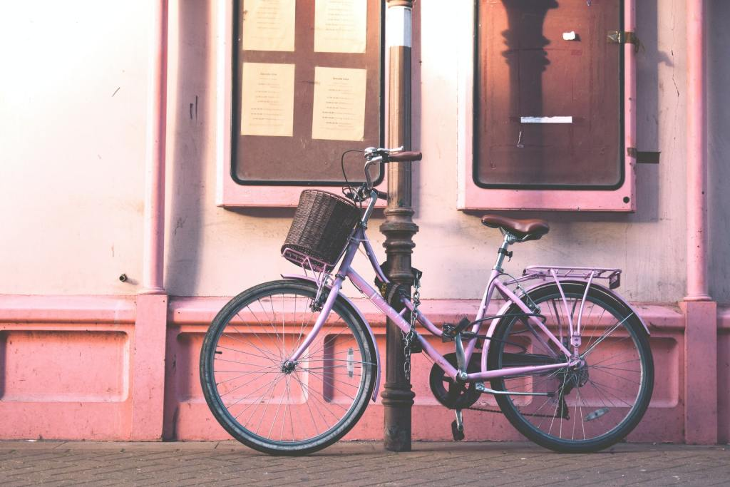Bicycle locked to lamp post. Example of insecure bike parking