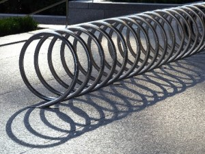 Bicycle parking that looks like a coiled spring