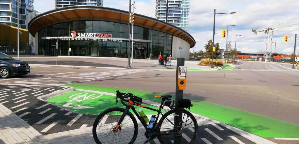 Bicycle in front of bike lane at Vaughan Metropolitan Centre